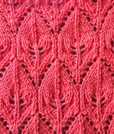 Lace leaves knitting stitches